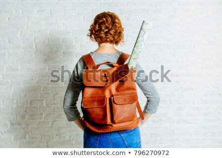 work and travel on white brick wall stock photo © tashatuvango