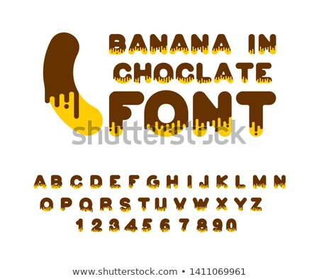 Banana in chocolate font. sweetness alphabet. Liquid lettering.  Stock photo © MaryValery