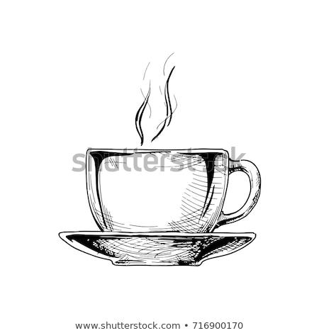 vektor · kávéscsésze · gravírozott · stílus · csészealj · szín - stock fotó © krisdog