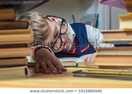 Gyerek fiú alszik könyv illusztráció ölel Stock fotó © lenm
