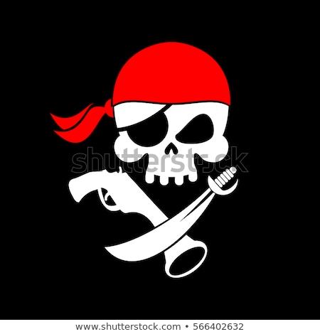 Pirackich banderą czaszki czarny banner głowie Zdjęcia stock © popaukropa