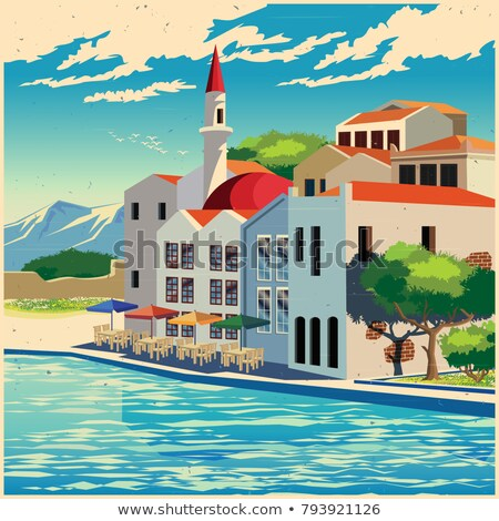 Picturesque quay old poster Stock photo © tracer