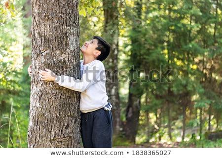 Boy hugging tree Stock photo © IS2