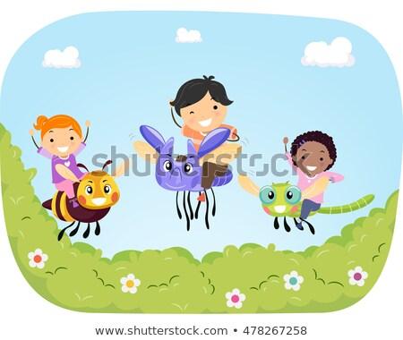 Stickman Kids Garden Bee Ride Stock photo © lenm