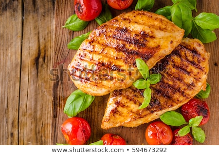 乳がん サラダ 木材 背景 鶏 ストックフォト © M-studio