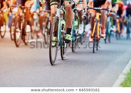 Cyklu wyścigi człowiek sportu charakter ogrodzenia Zdjęcia stock © IS2