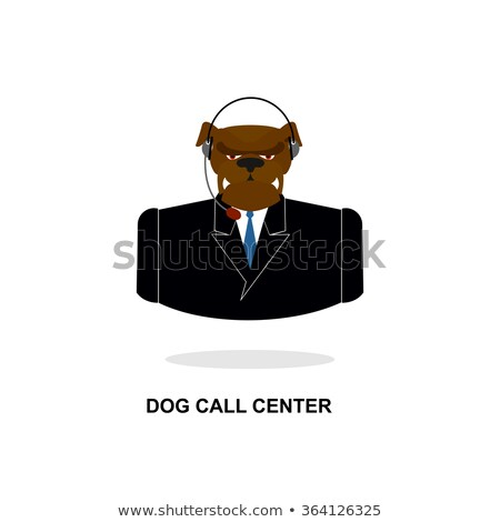 Doggy call Center. Dog with headset. Pet in costume responds to  Stock photo © popaukropa