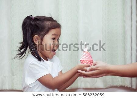 balon · kadın · doğum · günü · kız · turuncu - stok fotoğraf © dolgachov