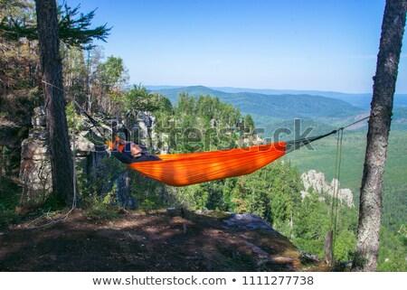 Women relaxing in hammock at campsite Stock photo © IS2