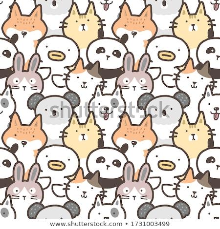 doodle seamless pattern with animal farm stock photo © balasoiu
