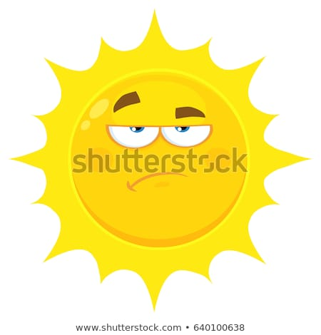 Grumpy Yellow Sun Cartoon Emoji Face Character With Sadness Expression Stock photo © hittoon