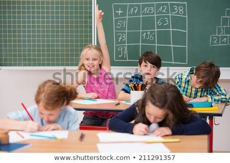 Stockfoto: Schoolmeisje · hand · primair · klasse · kinderen · student