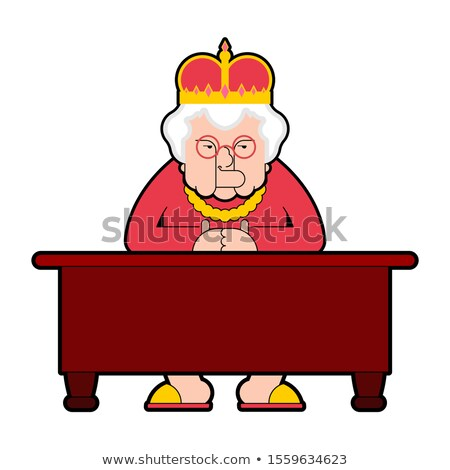 Queen for workplace Desktop. Boss old lady in crown sits at tabl Stock photo © MaryValery