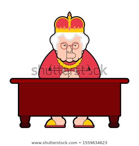 Koningin werkplek desktop baas oude dame kroon Stockfoto © MaryValery