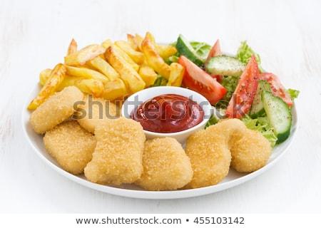 картофель фри Салат фон куриные обеда мяса Сток-фото © M-studio