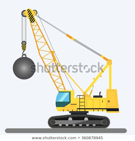 Crane with wrecking ball isolated. Construction machinery vector Stock photo © popaukropa