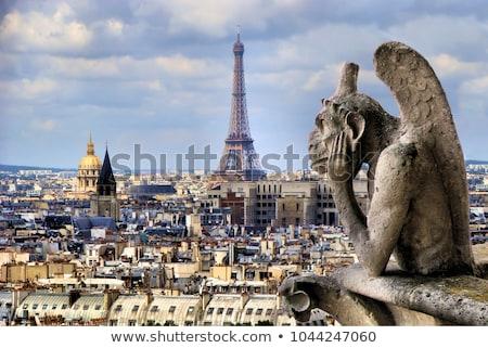 hölgy · néz · naplemente · Párizs · égbolt · templom - stock fotó © givaga