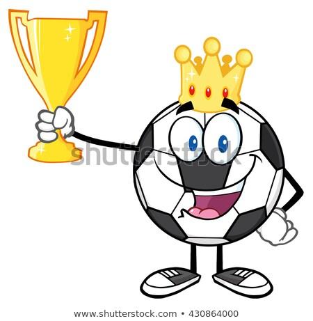 Rey balón de fútbol corona dorado Foto stock © hittoon