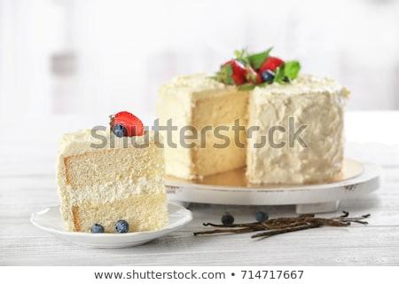 Plakje vanille cake eigengemaakt ontbijt Blauw Stockfoto © mpessaris