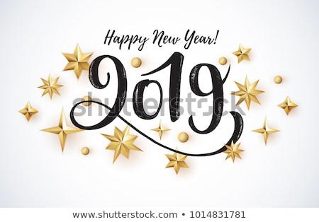 Happy new year 2019 handwritten text greeting card Stock photo © orensila