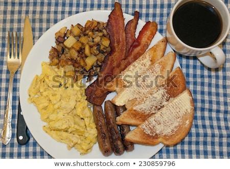 Rántotta új krumpli étel reggeli étel Stock fotó © FOKA
