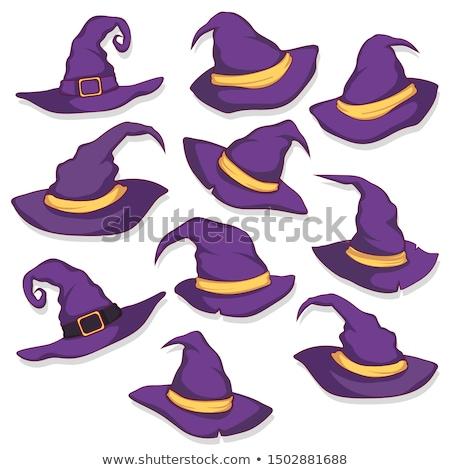 szett · halloween · sapkák · vektor · rajz · stílus - stock fotó © tasipas