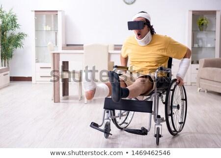 virtual reality goggle men_sickness Stock photo © toyotoyo