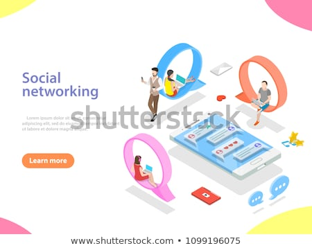 Isometric flat vector concept of mobile advertising, social media campaign. Stock photo © TarikVision