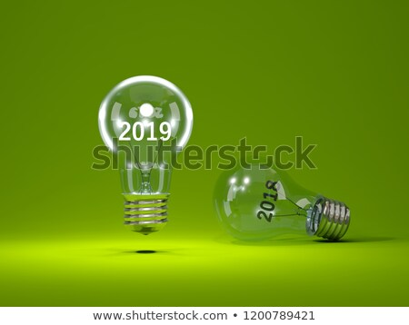 Stock photo: 2019 New Year sign inside light bulbs