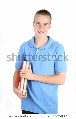 Male Student Teenage Schoolboy Freshman Textbook Stock photo © robuart