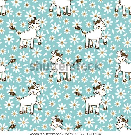 Cartoon Little Blue Ox Sign Stock photo © cthoman