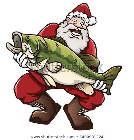 Szczęśliwy cartoon rybaka ilustracja patrząc ryb Zdjęcia stock © cthoman
