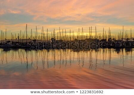 coucher · du · soleil · réflexions · marina · Californie · USA · eau - photo stock © yhelfman