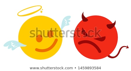 Mérges rajz ördög ikonok ikon gyűjtemény kifejezések Stock fotó © cthoman