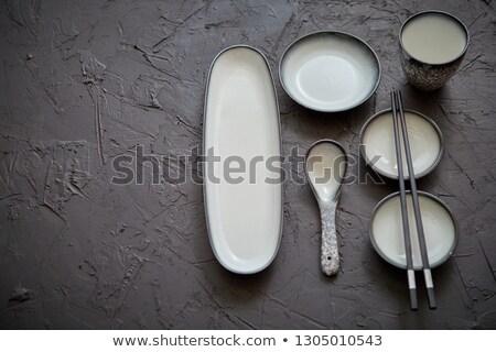 Establecer vacío cerámica platos sushi Foto stock © dash