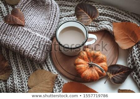 sonbahar · yaprakları · kahve · fincanı · ahşap · bo · doğa · arka · plan - stok fotoğraf © karandaev