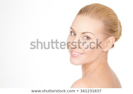 closeup portrait of an elegant blond smiling lady stock photo © konradbak