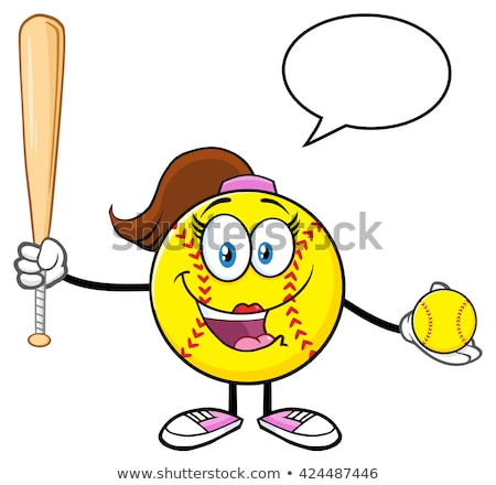 Stok fotoğraf: Happy Softball Girl Cartoon Character Holding A Bat And Glove With Ball
