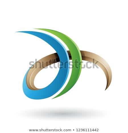 Stockfoto: Groene · beige · 3D · gekruld · letter · d · vector