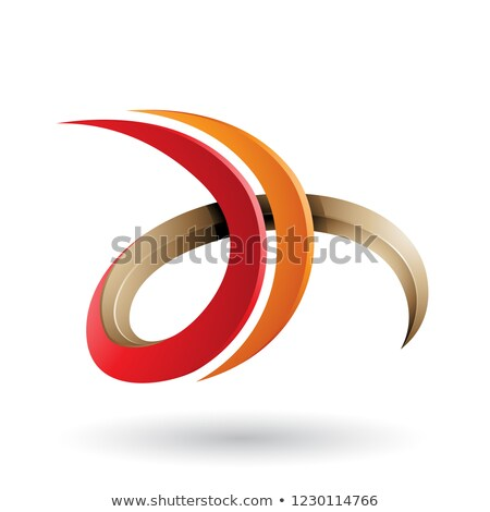 Red and Orange 3d Curly Letter D and H Vector Illustration Stock photo © cidepix