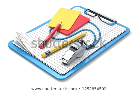 Whistle, pencils, red, yellow card and clipboard 3D Stock photo © djmilic