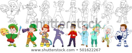 Stockfoto: Cartoon · illustratie · kleur · boek · zwart · wit