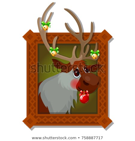 Wall picture in a wooden frame with Christmas deer with Golden jingle bells and festive baubles isol Stock photo © Lady-Luck