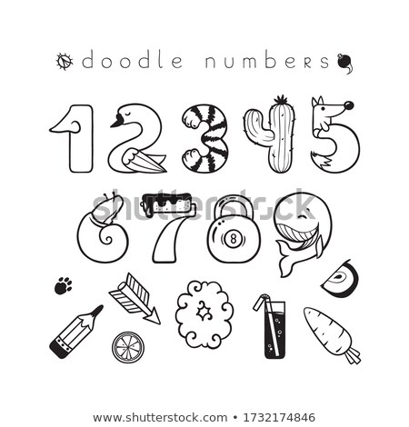 Monochrome Decorative Number Two, Doodle Design Element Stock photo © lissantee