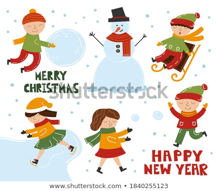 build snowman and ice skating postcards children stock photo © robuart