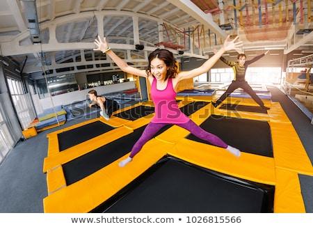 батут · иллюстрация · мальчика · прыжки · человека · спортзал - Сток-фото © colematt