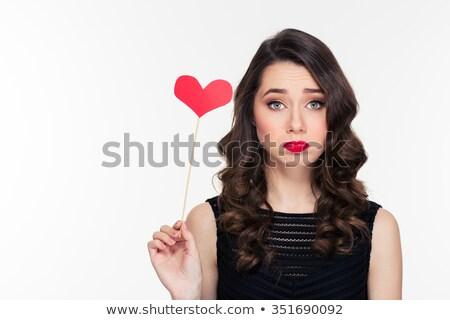 Retrato chateado jovem brilhante make-up violeta Foto stock © deandrobot