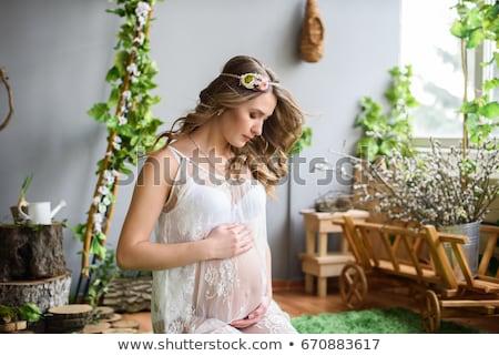 Mutlu hamile kadın dokunmak göbek yaz gebelik Stok fotoğraf © dolgachov