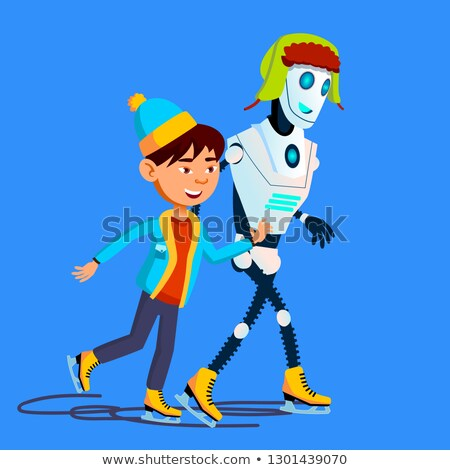 Robot Skates On Ice With Child In Winter Vector. Isolated Illustration Stock photo © pikepicture