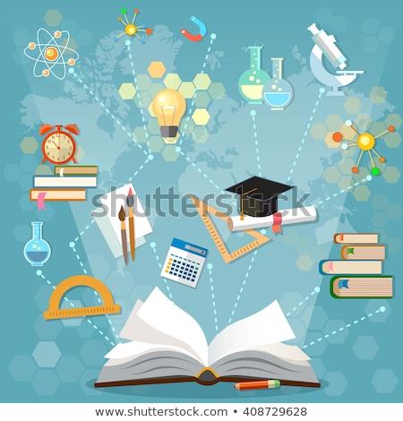 Stockfoto: Boek · wetenschappelijk · calculator · illustratie · math · appel